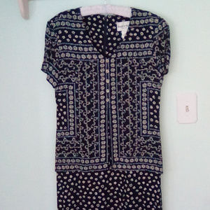 Navy Blue with Beige Flowers Vintage Dress